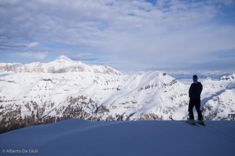 Pisciata con panorama super verso il Sella e l'Alta Badia.