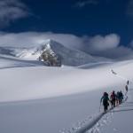 Sull' Allalingletscher dopo la nevicata. Lo Strahlhorn sullo sfondo.