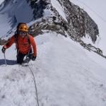 La ripida paretina prima della cresta di neve in cima al Monch.