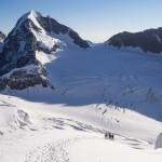 Traversando il ghiacciaio sotto il Rottalhorn.