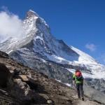 Il Matterhorn dal bellissimo sentiero di avvicinamento alla Hornlihutte.