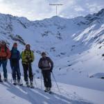 In Malfontal, con la nostra discesa dal Kreuzjoch. Sankt Anton Am Arlberg.