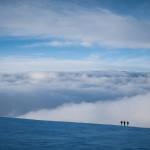 Sci alpinisti nei pressi della Capanna Gnifetti, Monte Rosa.