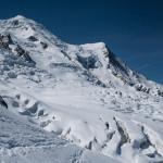 Aiguille e Dome de Gouter, Ghiacciaio del Bosson. Monte Bianco.