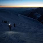 Prime luci, Monte Bianco con gli sci.