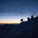 Sotto la Capanna Vallot alle prime luci. Monte Bianco.