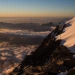Il tramonto dal Rifugio Gouter.