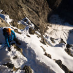 Il primo tratto di roccia della Biancograt. PIz Bernina.
