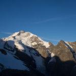 Il Piz Bernina e la Biancograt al mattino, dal Diavolezza.