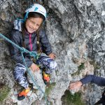 Climbing with Claudia, 8 years old, the Torre Firenze, Val Gardena.